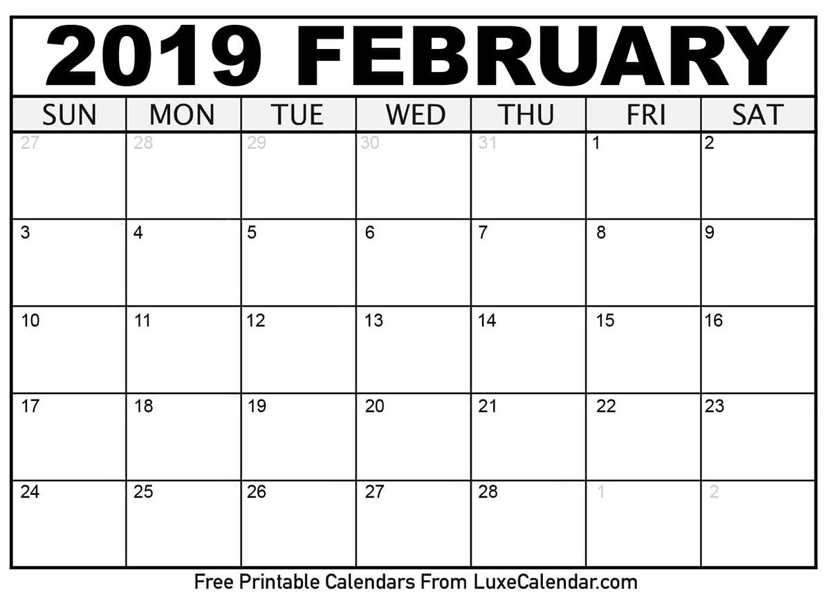 downloadable february 2019 calendar