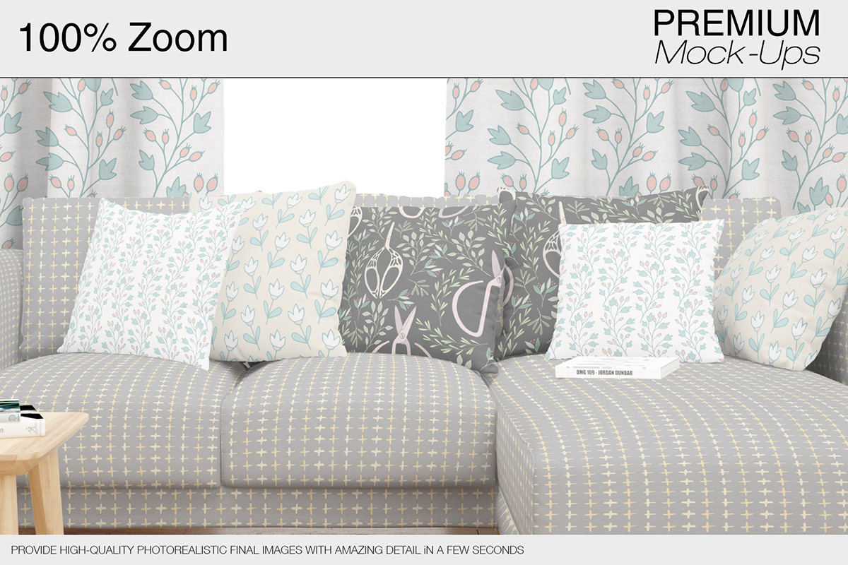 High Quality Sofa Pillows Sofa Pillows Curtains Mockup Pack On Student Show