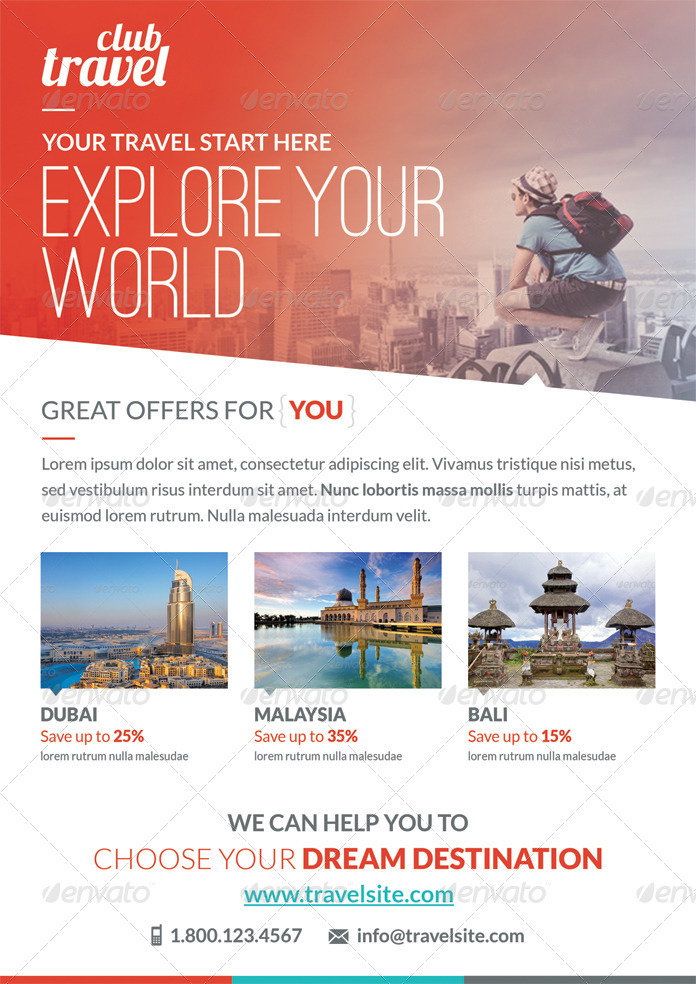 Travel \u2013 Vacation Flyer Template on Behance