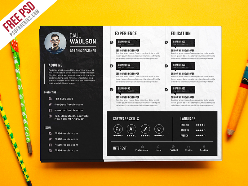 Free PSD  Creative Horizontal CV Resume Template PSD on Behance