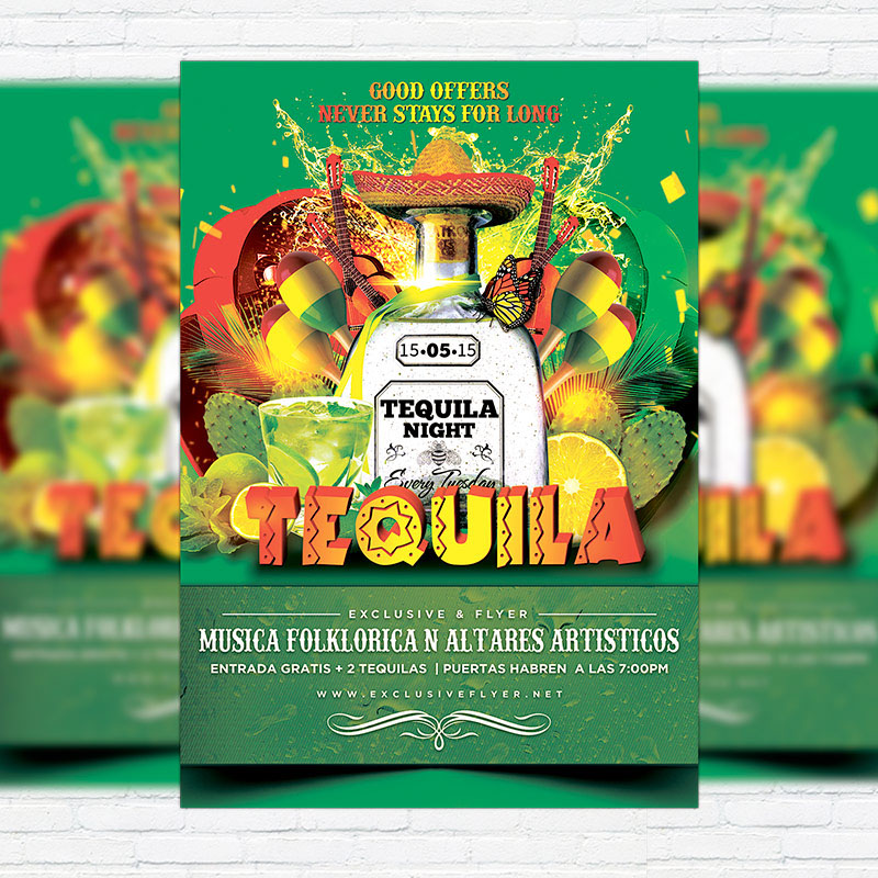 Tequila Party \u2013 Premium Flyer Template + Facebook Cover on Behance