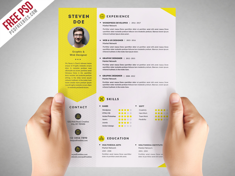 Freebie  Clean Resume CV Template Free PSD on Behance - Resume/cv Template