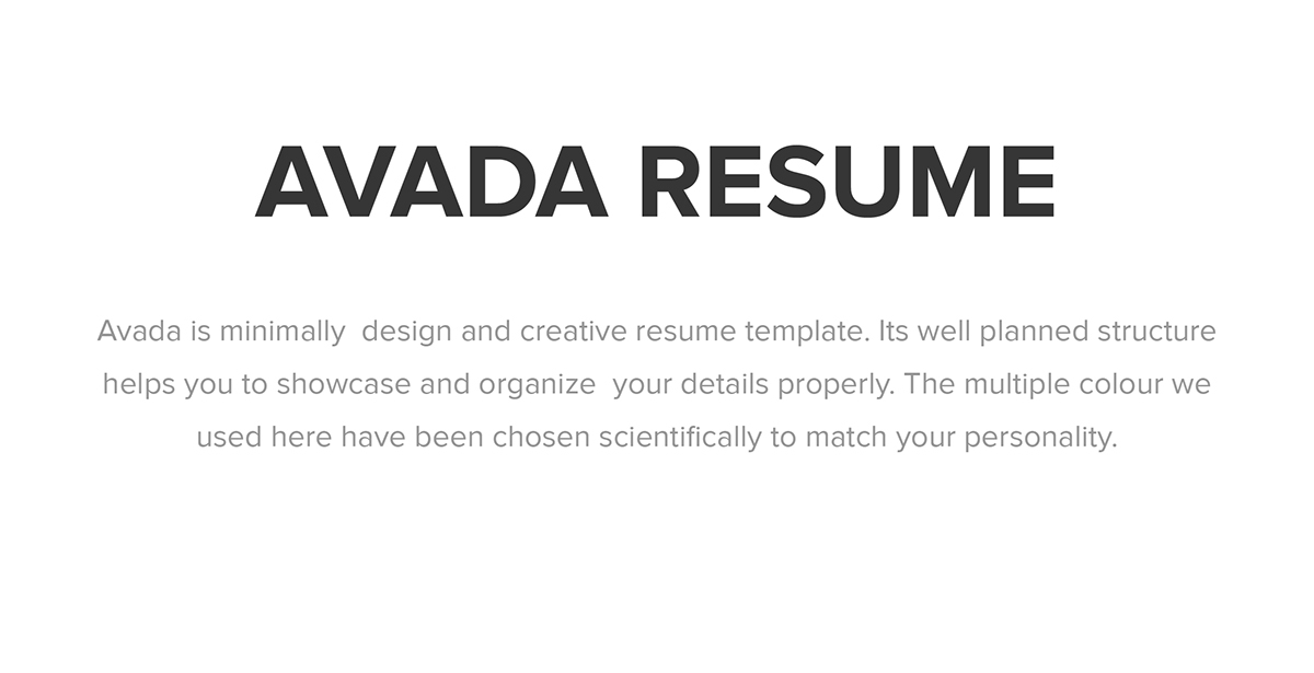 Avada Minimal Resume on Behance - how to organize resume