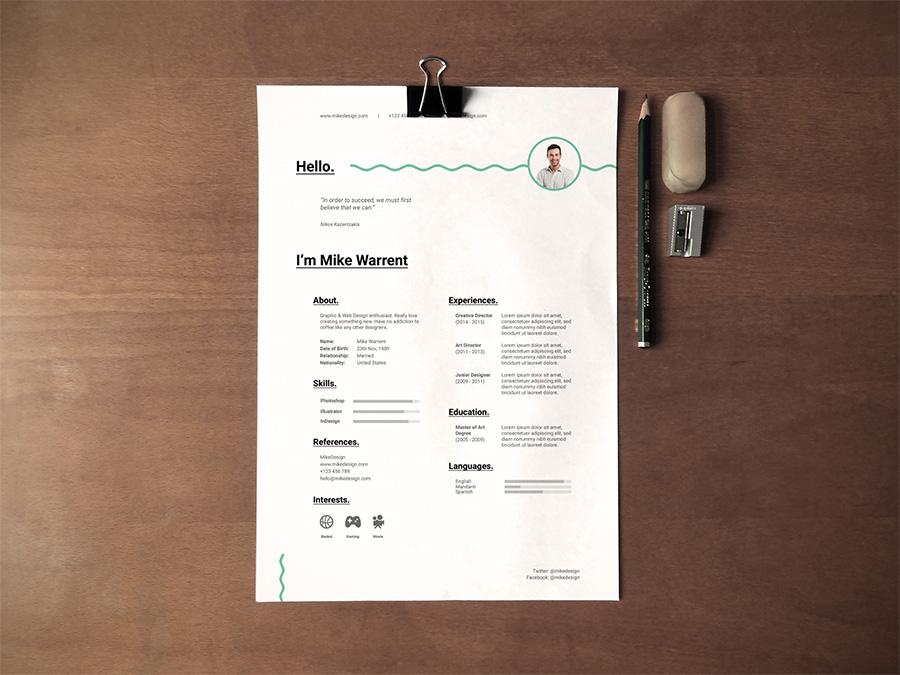 Free Minimalist Resume Template on Behance - minimalist resume template