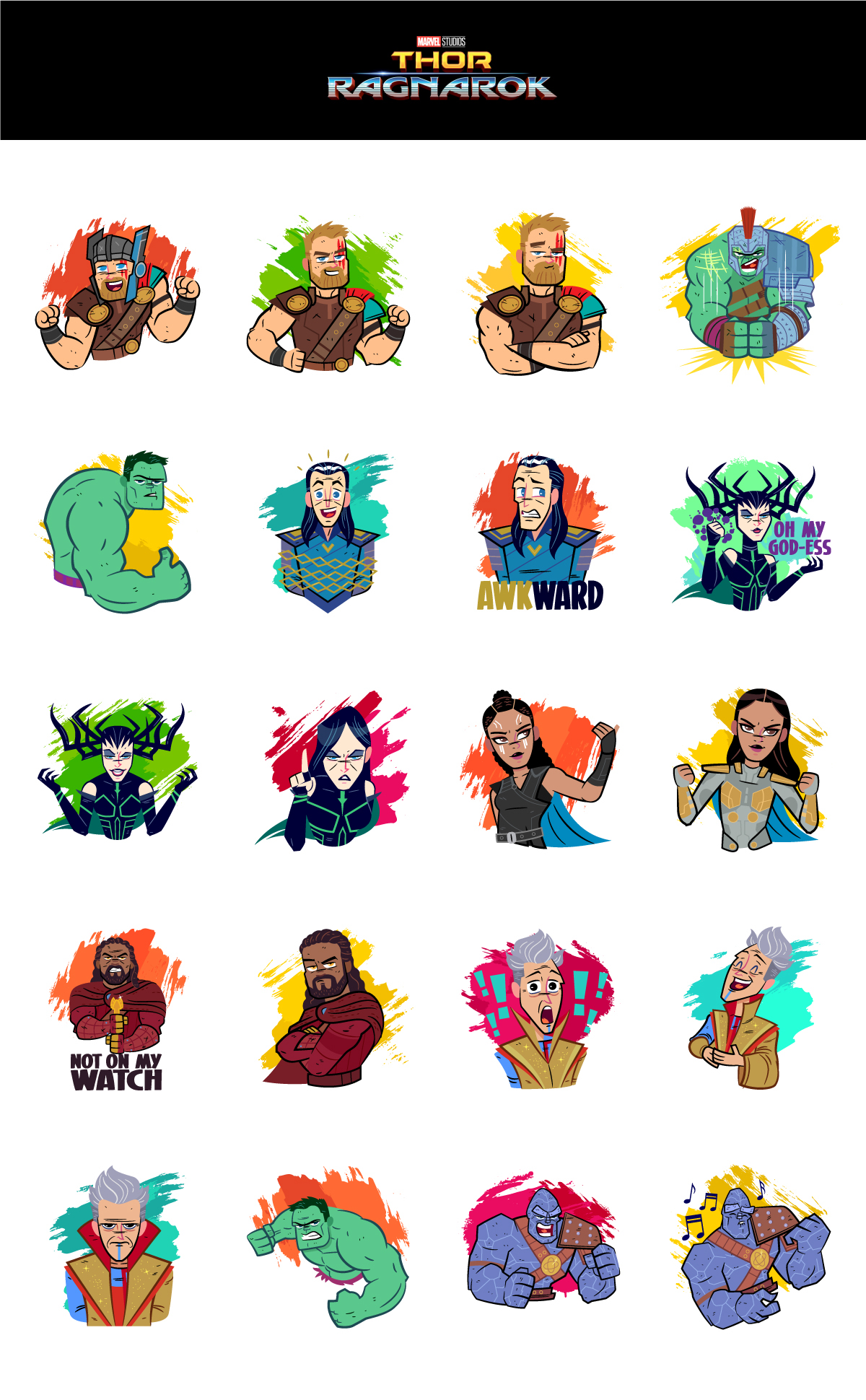Cute Stickers For Facebook Thor Ragnarok Facebook Stickers On Behance
