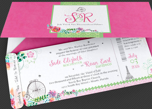 French Wedding Boarding Pass Invitation Template on Behance - boarding pass template