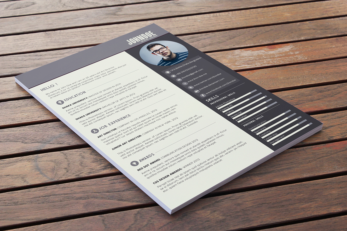 cv photoshop template francais