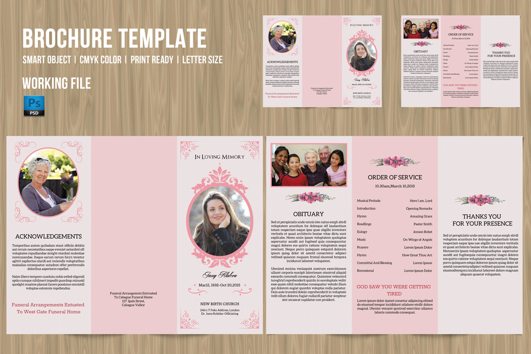 Trifold Funeral Program Template on Behance - funeral flyer template