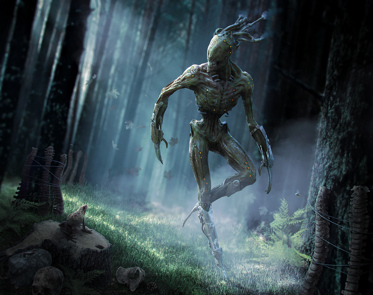 Mystical Creatures In The Fall Wallpaper The Menk Creepy Creature In Zbrush Keyshot Ps On