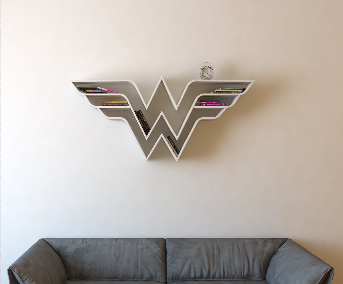 Wonder Woman Logo Shelf Interrior Design Bookshelf On