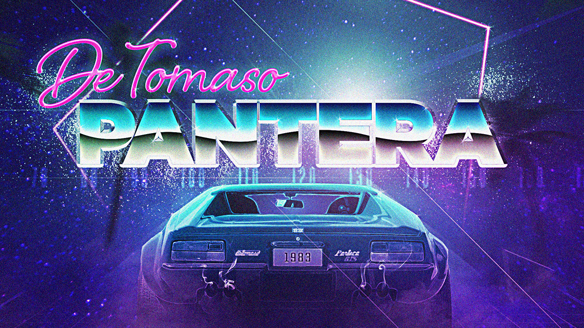 Neon Car Theme Wallpaper De Tomaso Pantera 80s Cyberpunk Artwork On Behance
