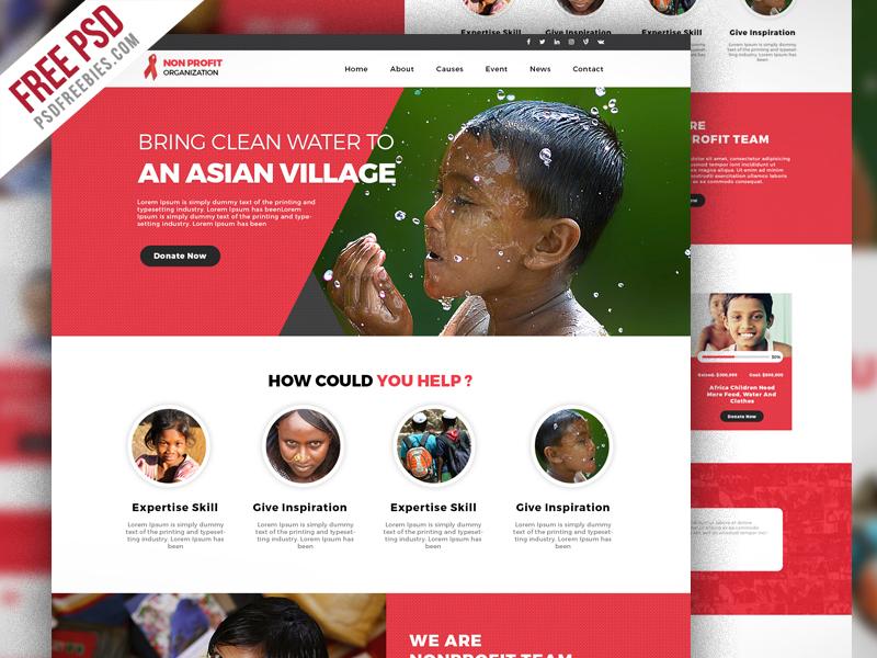 Free PSD  Non Profit Organization Website Template PSD on Behance