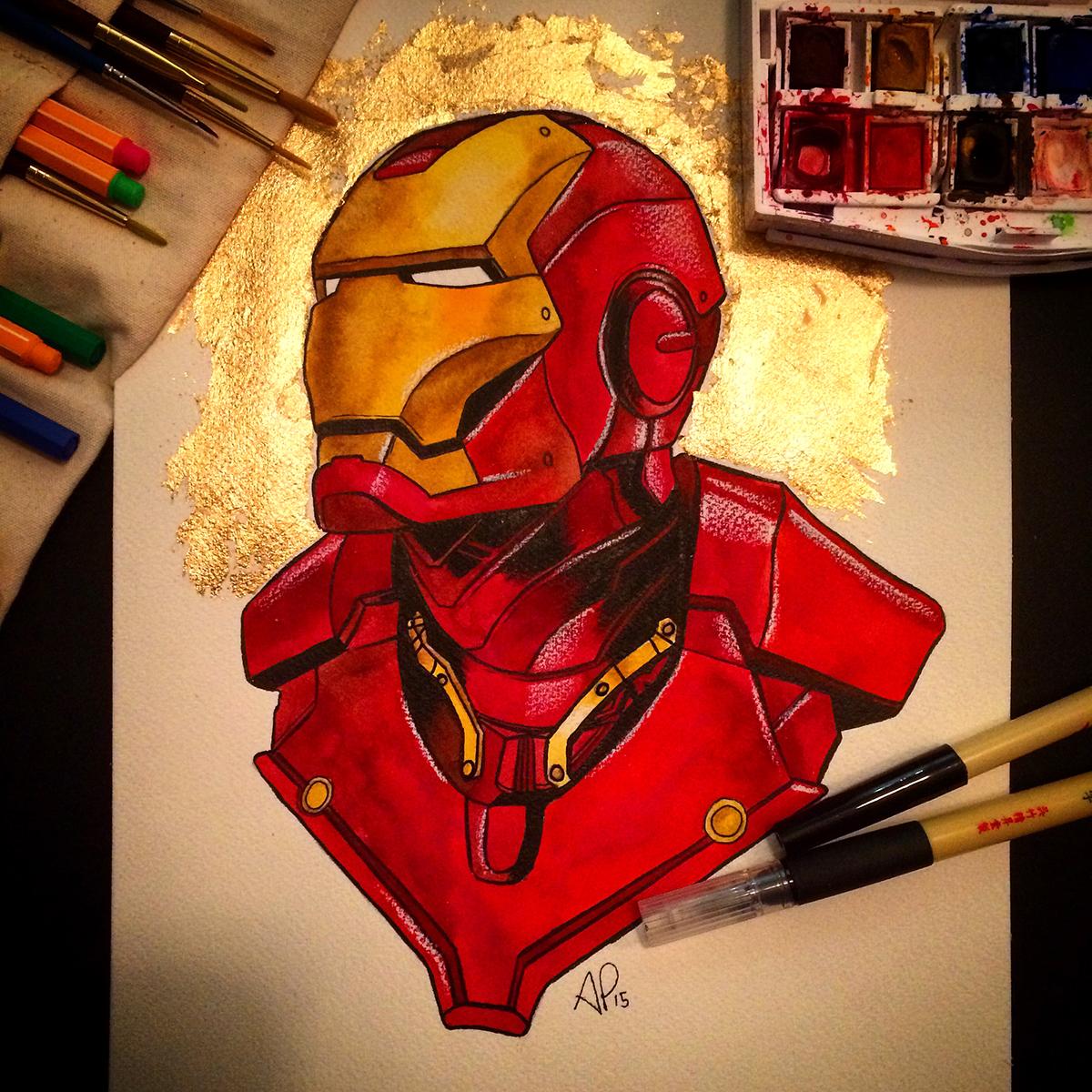 Wallpaper Graffiti Keren 3d Iron Man Watercolor On Behance