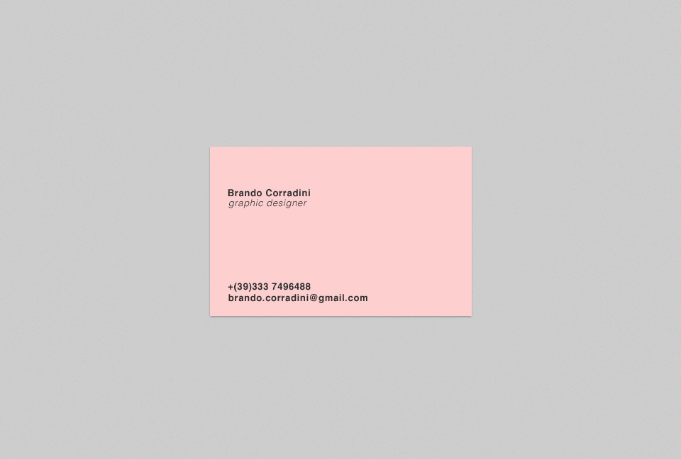 Personal business card \u2013 Brando Corradini on Behance