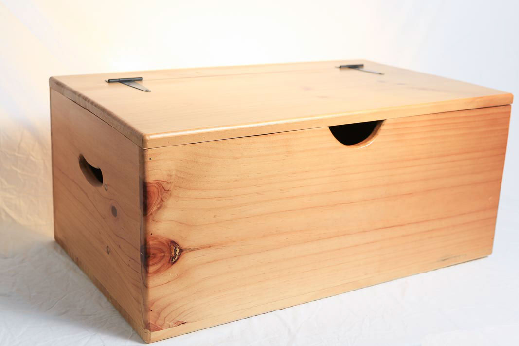 Storage Box Wooden Large Flat Top Hinged Lid On