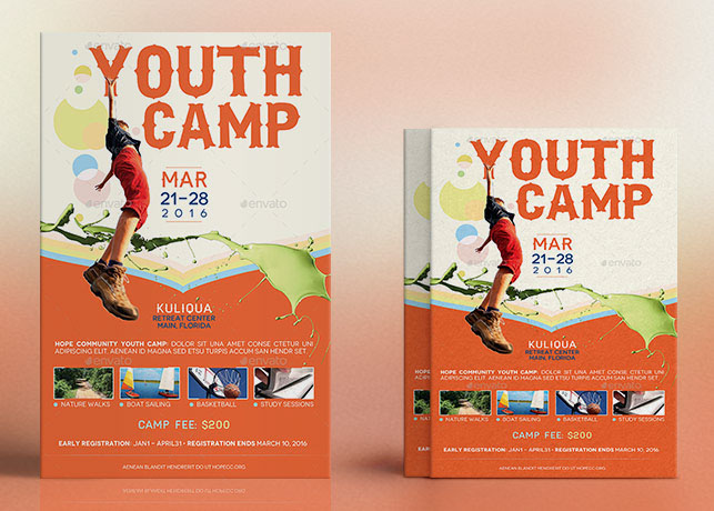Youth Camp Flyer Poster Template on Behance