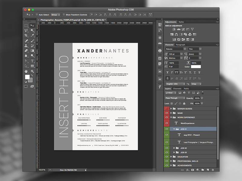 Photographer Resume Photoshop PSD Template on Behance