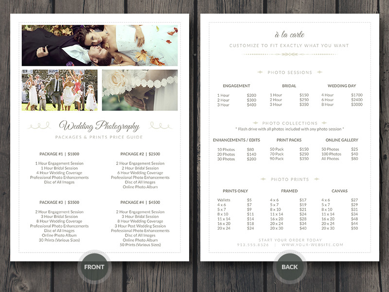 Wedding Photographer Pricing Guide PSD Template v3 on Behance