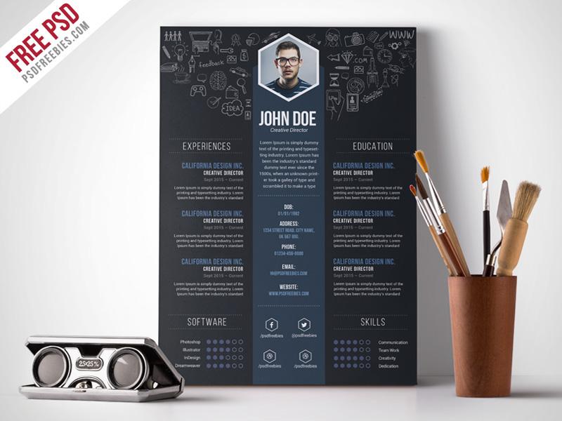 Free PSD  Creative Designer Resume Template PSD on Behance