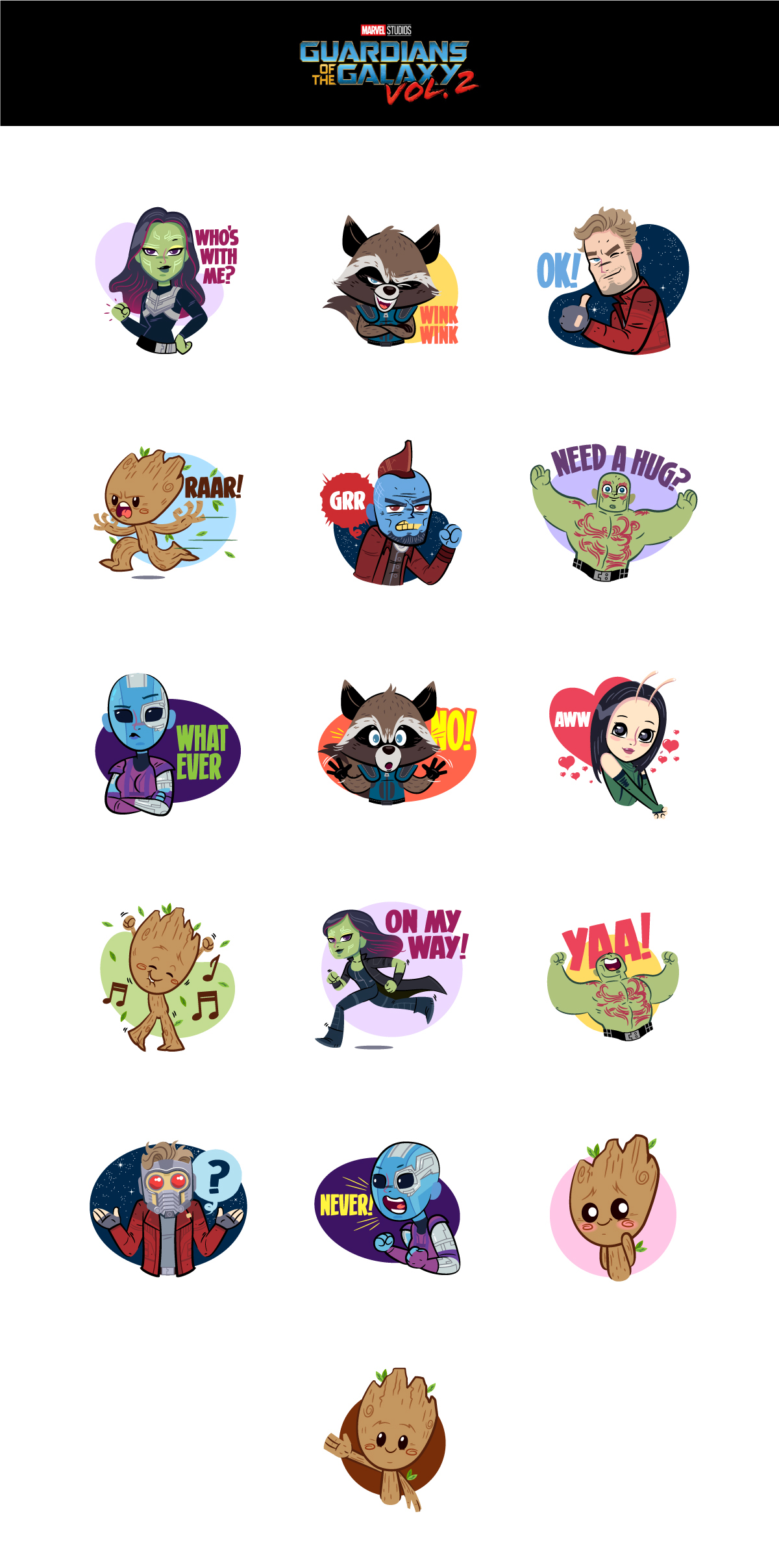 Cute Stickers For Facebook Guardians Of The Galaxy Vol2 Facebook Stickers On Behance
