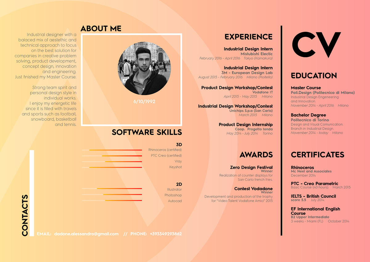 industrial design cv
