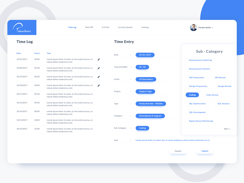 Interactive Timesheet App on Behance