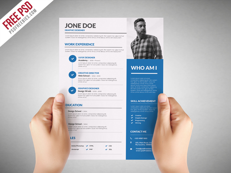 Freebie  Graphic Designer Resume Template Free PSD on Behance