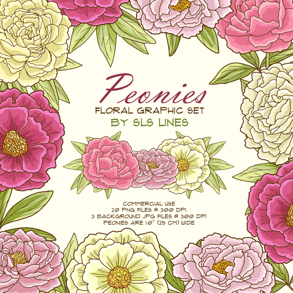 Peonies Floral Graphic Set On Behance