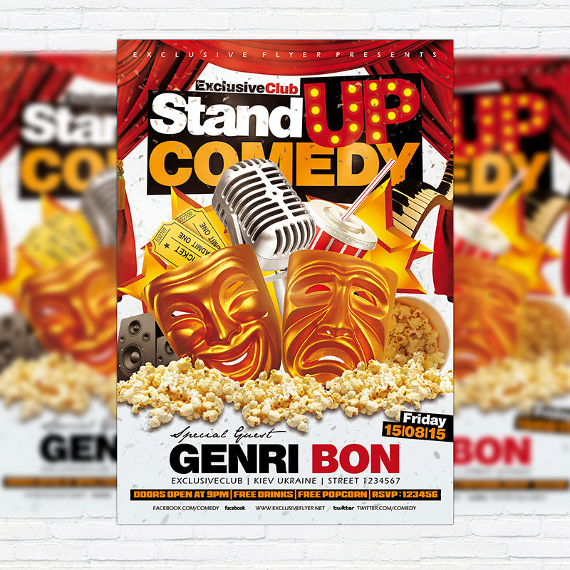 Stand Up Comedy u2013 Flyer Template + Facebook Cover - Heroturko Download - comedy show flyer template