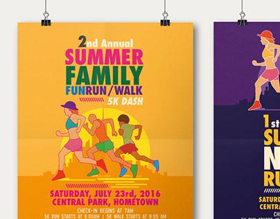 Summer Fun Run Flyer  Poster Template on Behance