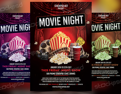 Movie Night - Free PSD Flyer Template on Behance - competition flyer template