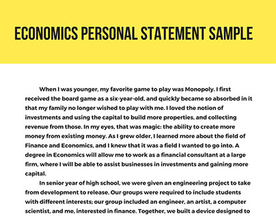 PPE Personal Statement Samples on Behance