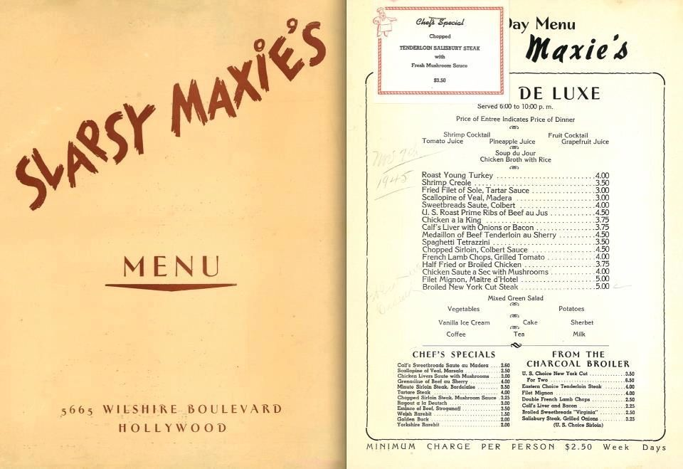 Slapsy Maxieu0027s menu, circa 1948 LA Pinterest - coffee menu