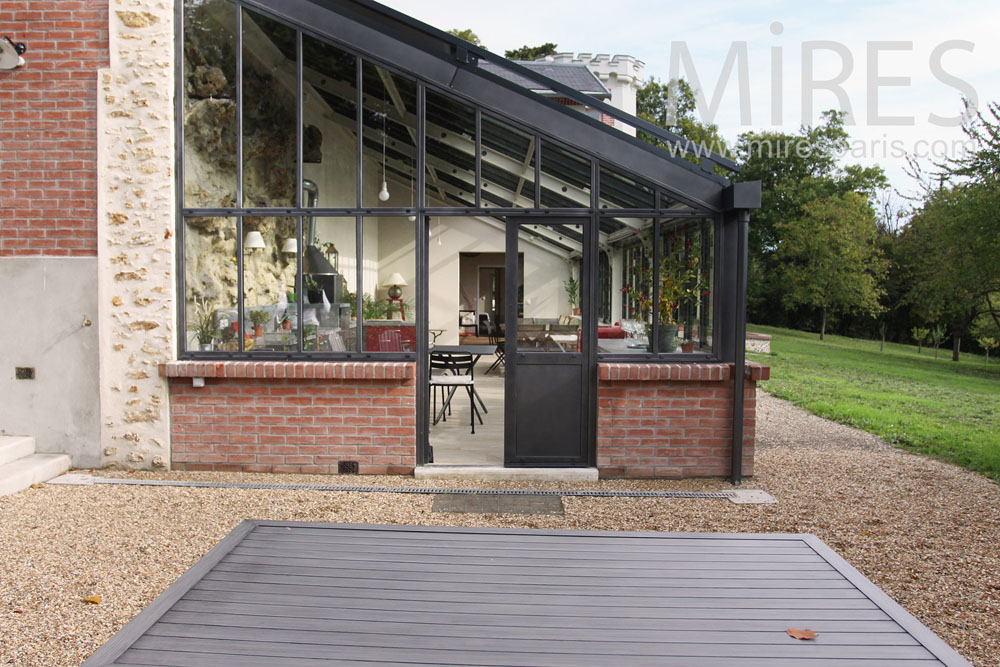 Terrasse Lounge Long Veranda Brick And Metal. C0775 | Mires Paris