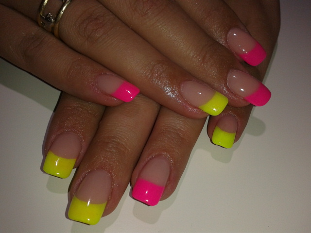 Uñas Decoradas Nuevas Amarillo Y Rosa Neón | Miriam Dream Nails