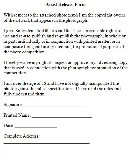 Release Form Artwork – Copyright Release Form