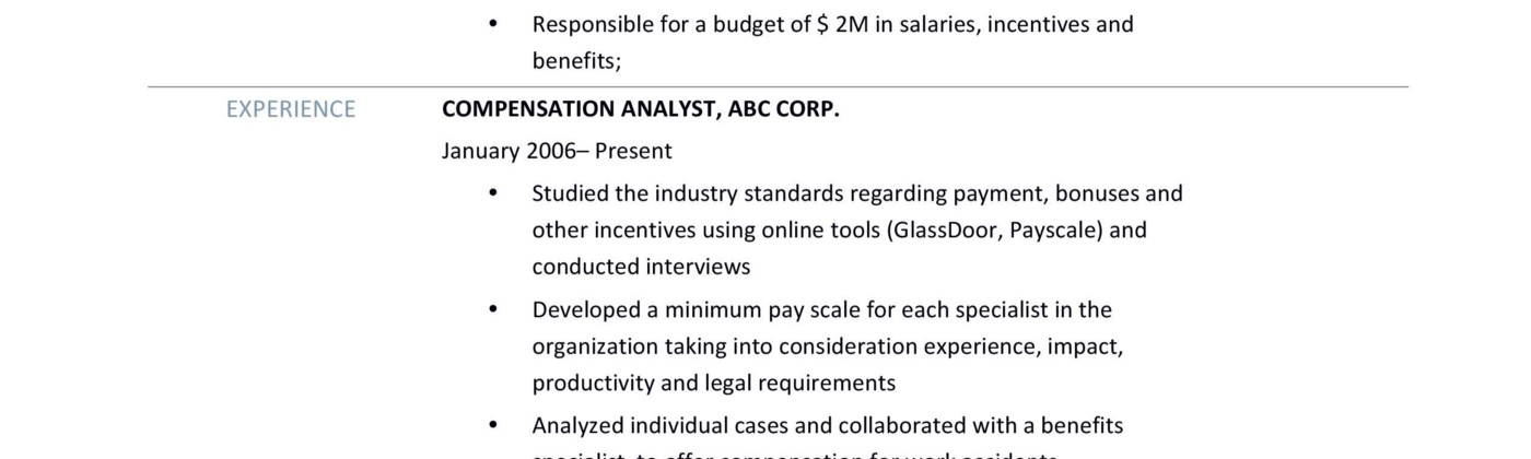 Online Resume Builders \u2013 Medium - Compensation Analyst Resume