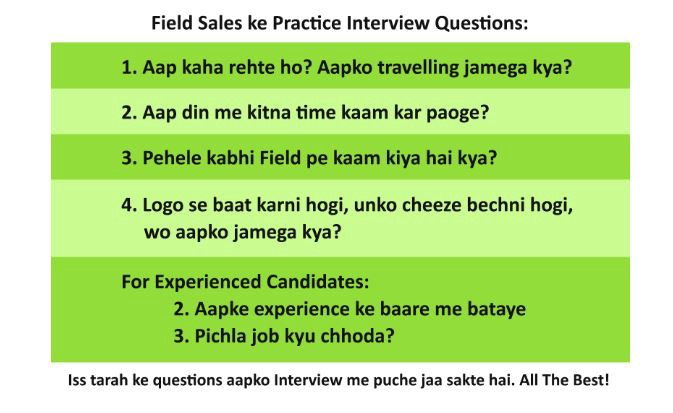 Interview Questions for Field Sales, Marketing, Promotion etc Jobs