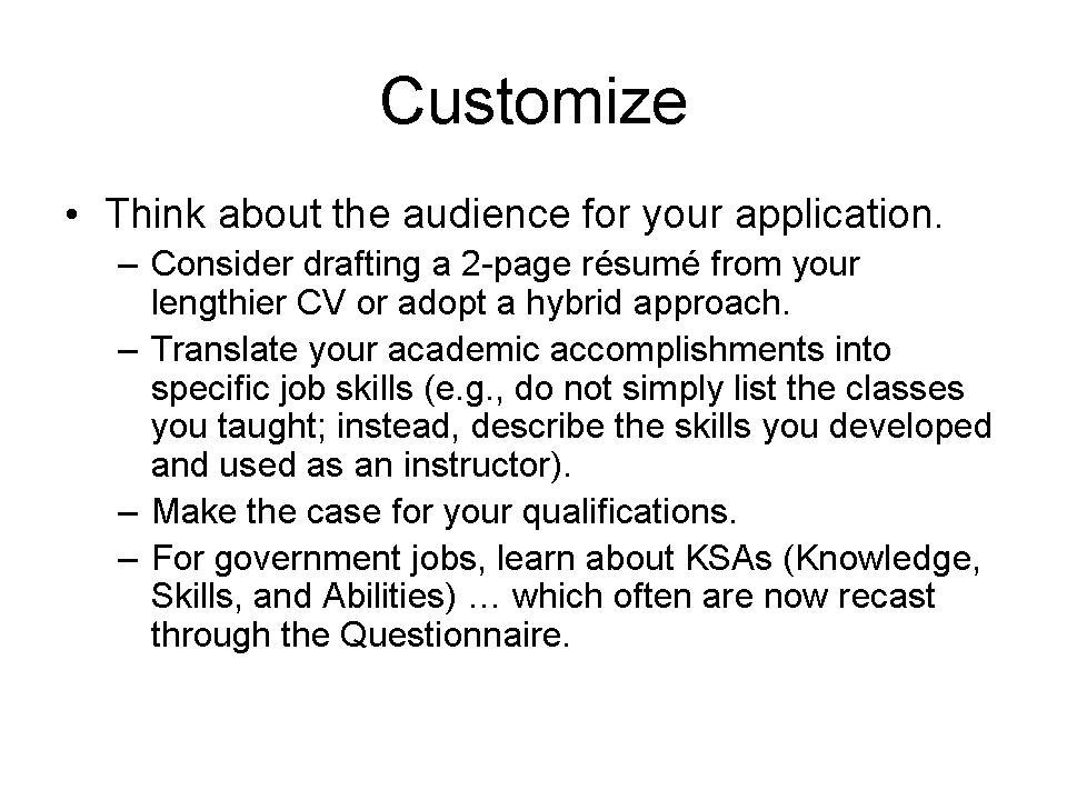 job skills and qualifications list