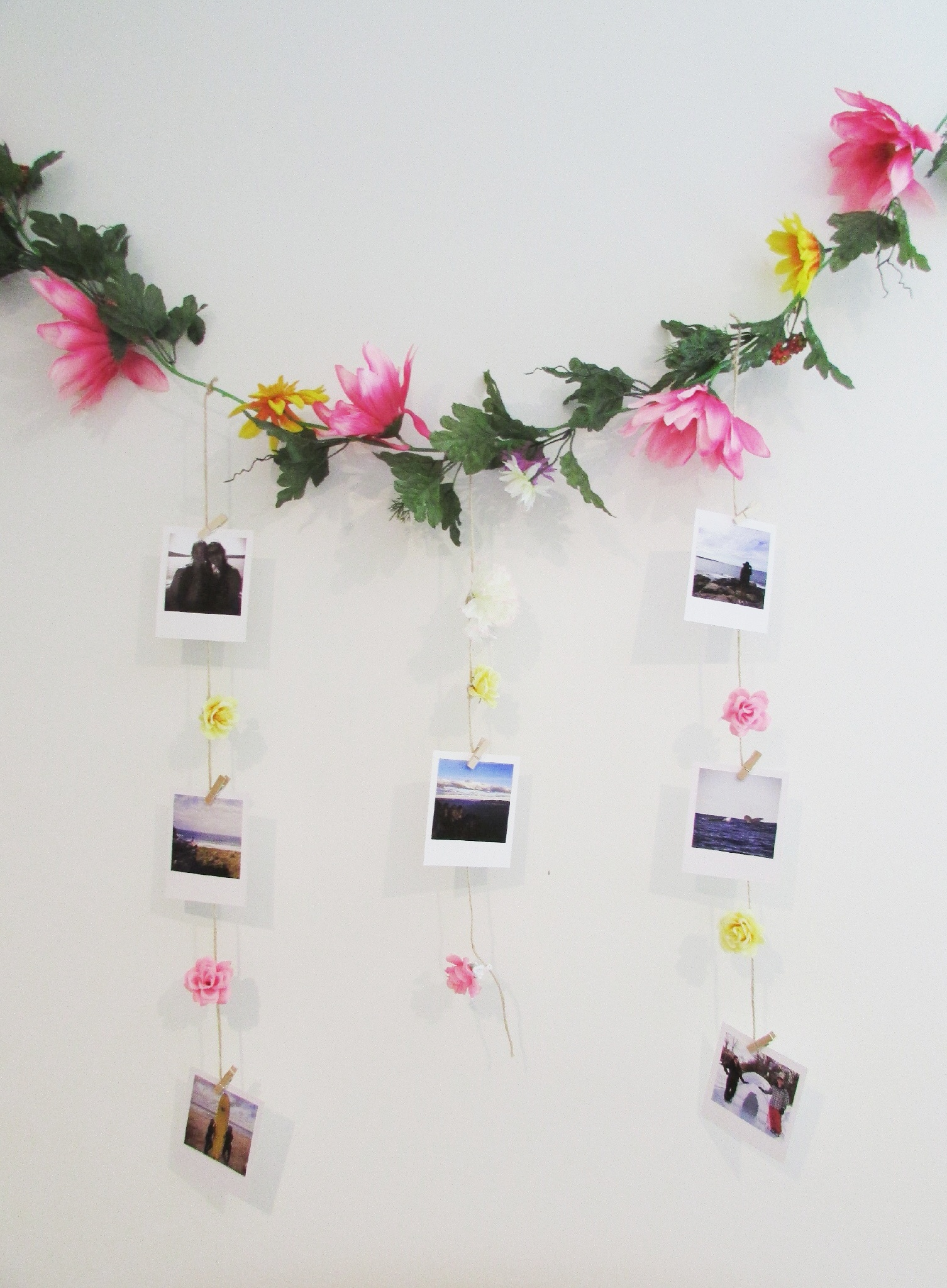 Pictures Wall Decor Ideas Diy Polaroids And Floral Hanging