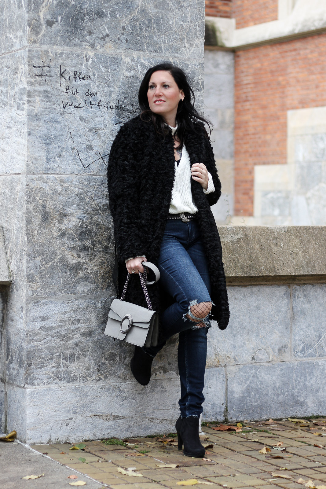 Tom Tailor Winter Love A Fashion Friend Outfit Fake Fur Mantel Mit Destroyed Jeans Miss Classy