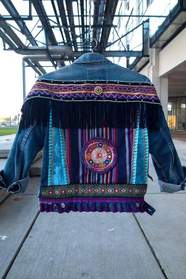 vintage levi levis denim embellish embellished ibiza colour colorful hippe gypsy purple ethnic