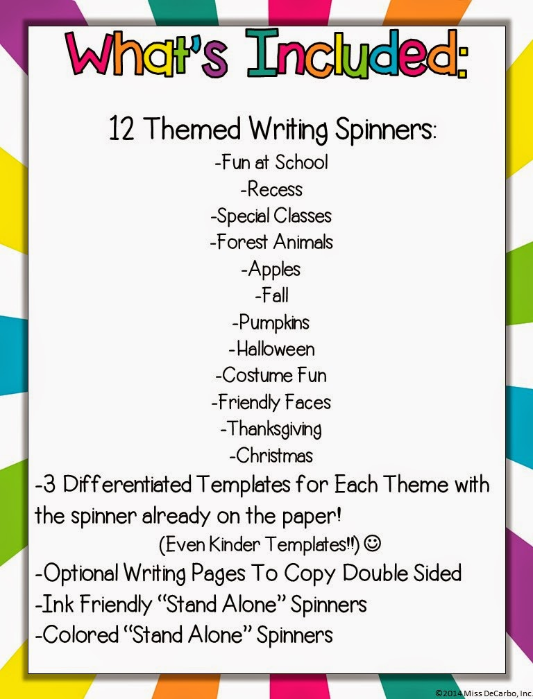 Writing Wheels for Work on Writing! {Fall Edition} - Miss DeCarbo
