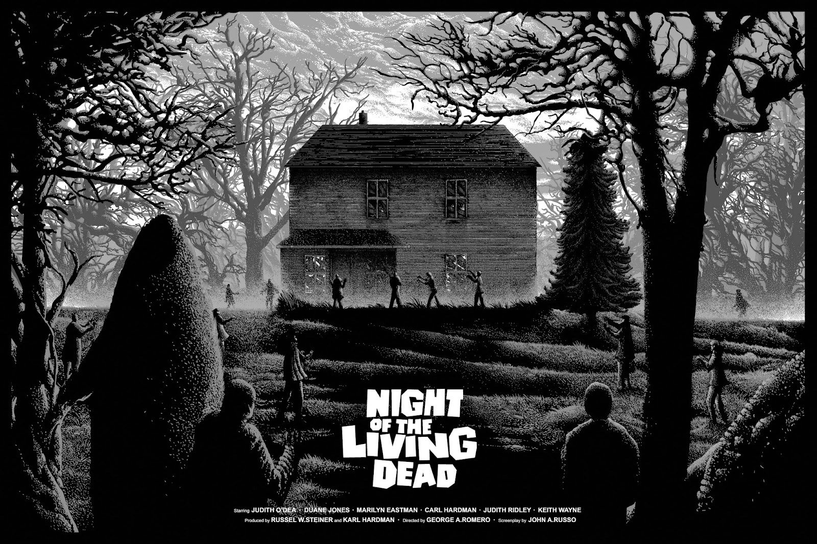 Night Of The Living Dead Farmhouse Night Of The Living Dead Movie Poster Print Missed Prints