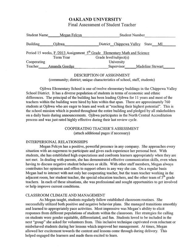 Teacher/Supervisor Evaluation - Megan Felcyn\u0027s Portfolio