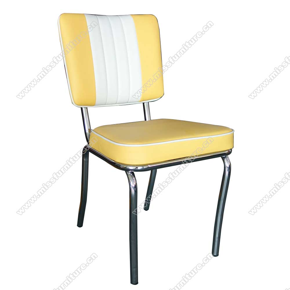 Wholesale Yellow And White Color Leather Mid Century Retro American Diner Chairs Yellow Leather Piping American Chrome Retro Diner Chairs 1950s American Retro Diner Chair M 8304