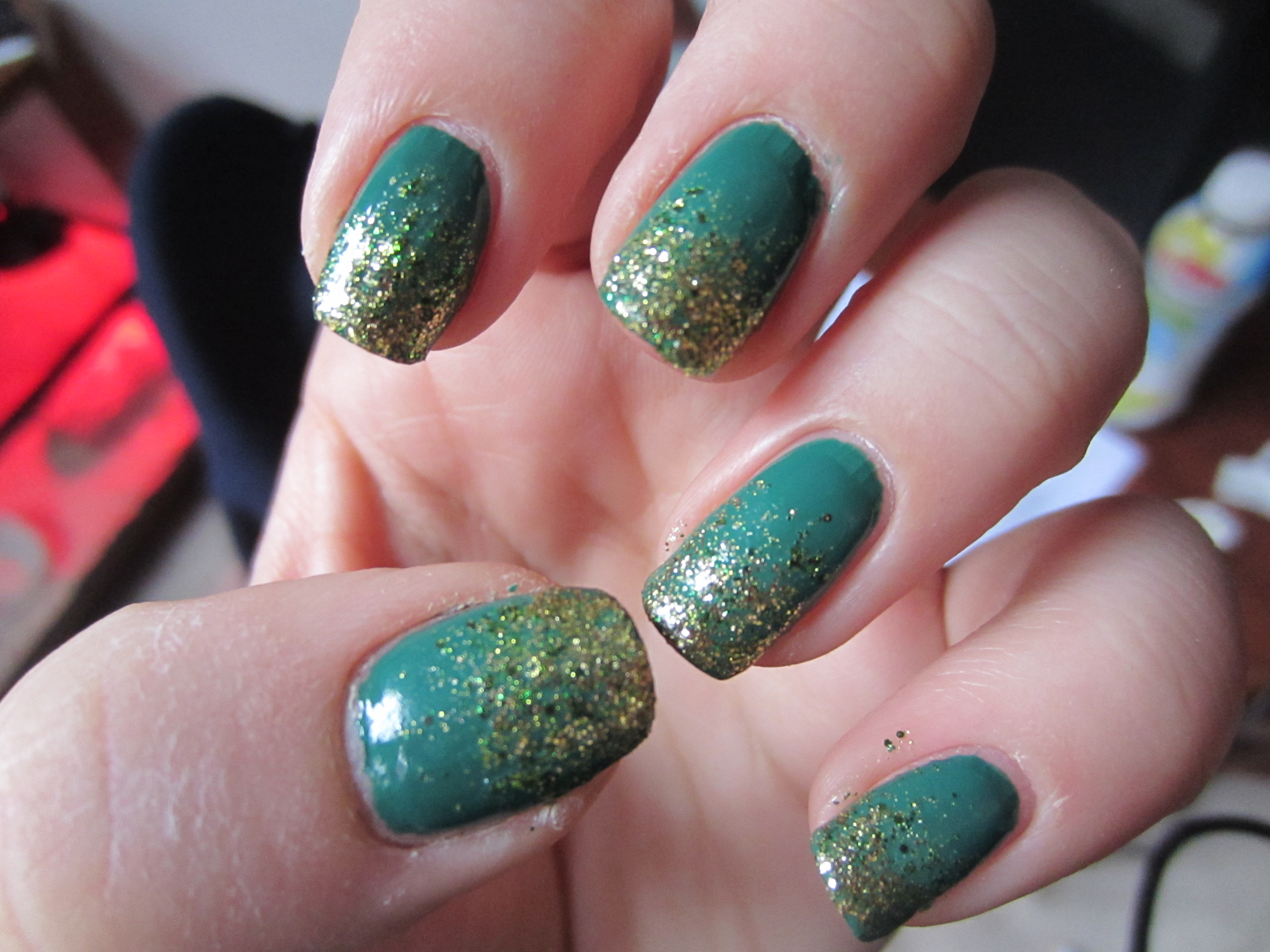 Green Ombre Coffin Nails