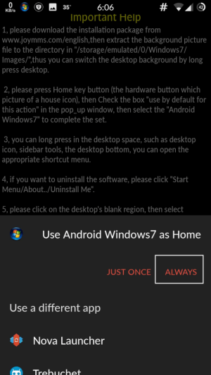 windows 7 pc launcher for android