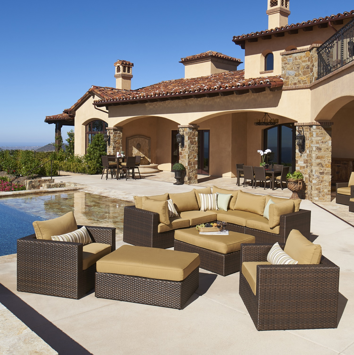 4pc Madrid Rattan Sofa Set Madrid 9pc Deep Seating Collection Mission Hills Furniture