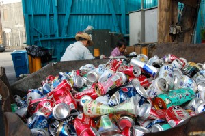 Cans are collected before being crushed.